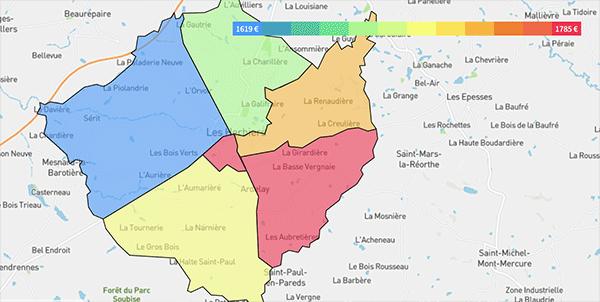Cartographie des prix immobiliers quartiers Les Herbiers